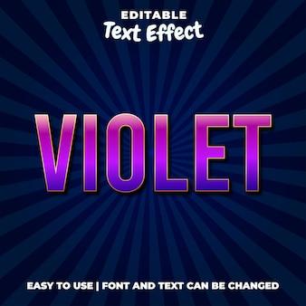Fioletowy fiolet edytowalny styl efektu tekstowego