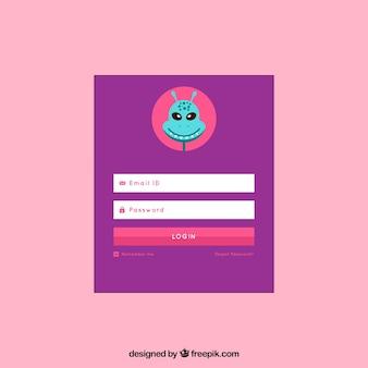 Fioletowy formularz logowania z awatarem