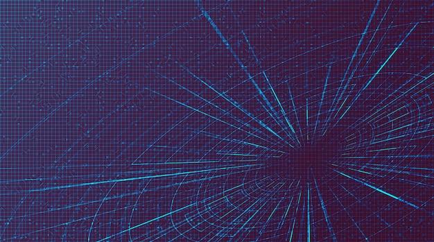 Fioletowy futurystyczny hiperprzestrzeń prędkości ruchu na tle przyszłej technologii