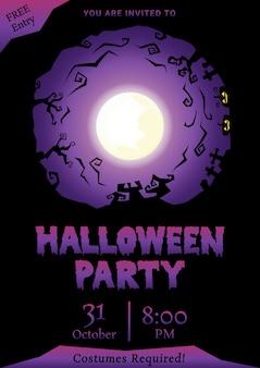 Fioletowy halloween party powitanie sylwetka koło