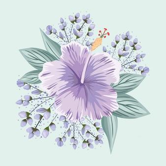 Fioletowy hawajski kwiat z liśćmi projekt malarski, naturalny kwiatowy ornament roślinny dekoracja ogrodowa i ilustracja motyw botaniczny