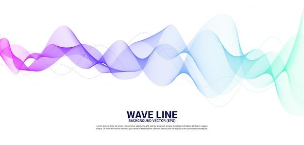 Fioletowy i niebieski sound wave line curve na białym tle.
