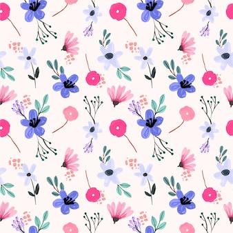 Fioletowy i różowy mały kwiatowy gwasz wzór