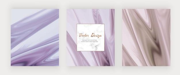 Fioletowy i różowy płynny atrament z tłem i marmurową ramką.