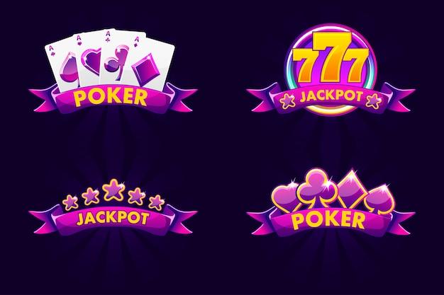 Fioletowy jackpot i emblemat poker