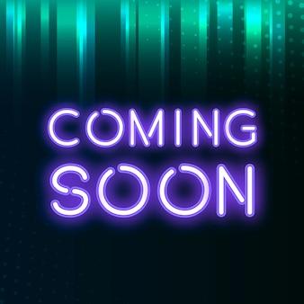 Fioletowy już wkrótce neon ikona wektor