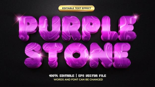 Fioletowy kamień marmur luksusowy szablon 3d edytowalnego stylu efektu tekstowego