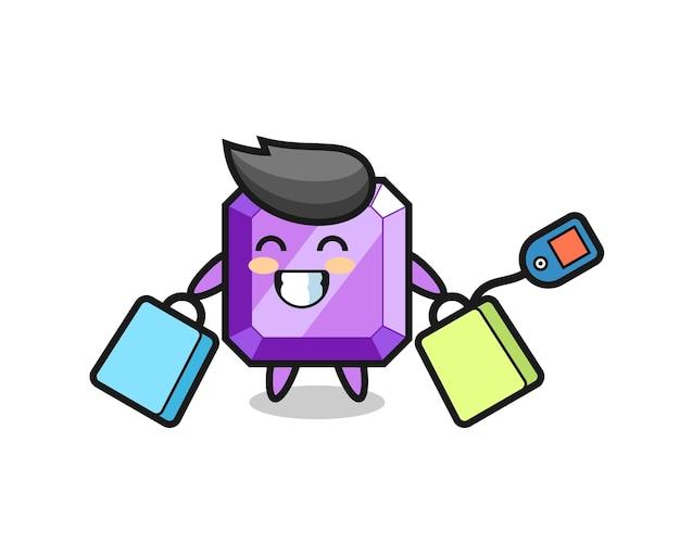 Fioletowy kamień szlachetny kreskówka maskotka trzymając torbę na zakupy, ładny styl na t shirt, naklejki, element logo