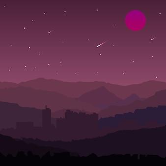 Fioletowy krajobraz z deszczem meteorów