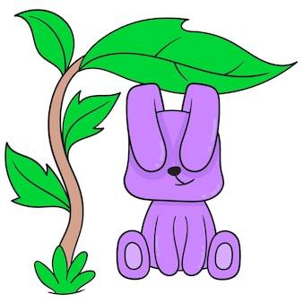 Fioletowy królik schroni się pod drzewem o szerokich liściach. doodle ikona kawaii.
