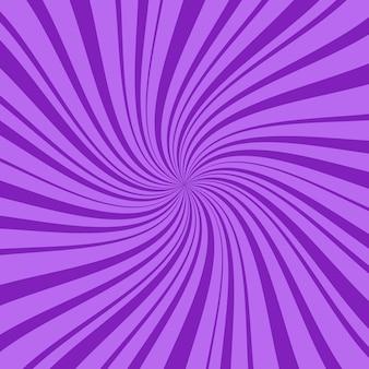 Fioletowy kwadrat abstrakcyjne tło z cienkimi i grubymi promieniami, liniami lub paskami wirującymi wokół środka. geometryczne tło z efektem halucynacji lub hipnozy. kreatywna ilustracja.