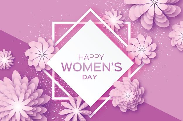 Fioletowy kwiat cięty z papieru. 8 marca. kartkę z życzeniami na dzień kobiet. kwiatowy bukiet origami. kwadratowa ramka w kształcie rombu.