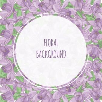 Fioletowy kwiat kwiatowe tło ramki