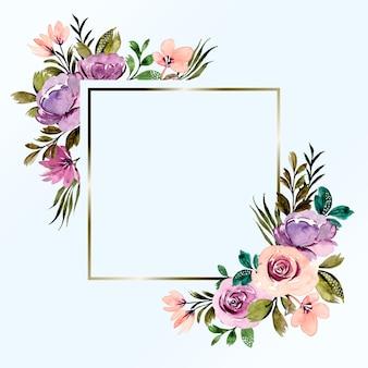 Fioletowy kwiatowy akwarela ramki tła