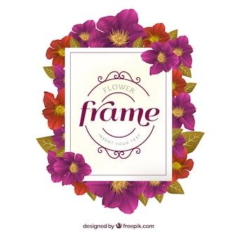 Fioletowy kwiatowy rama