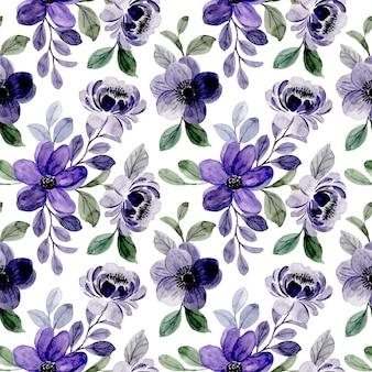 Fioletowy kwiatowy wzór akwarela