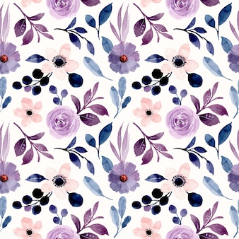 Fioletowy kwiatowy wzór z akwarelą
