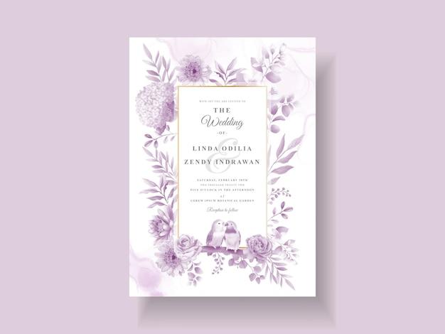 Fioletowy kwiatowy zaproszenie na ślub szablon
