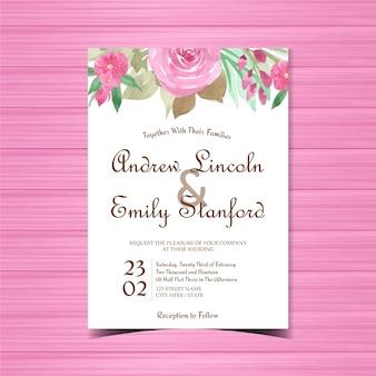 Fioletowy kwiatowy zaproszenie na ślub