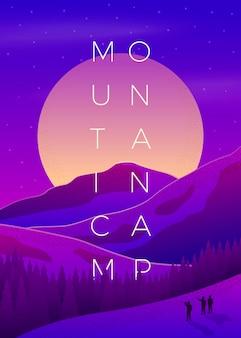 Fioletowy letni górski kemping plakat szablon z lasem i górami