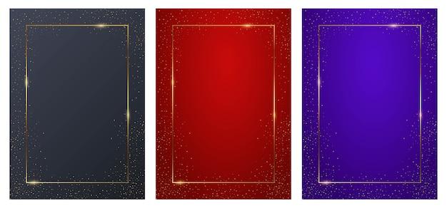 Fioletowy, niebieski i czerwony prostokątny tło zestaw ze złotymi ramkami