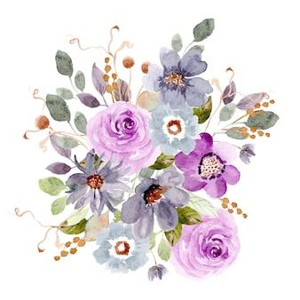 Fioletowy niebieski kompozycja kwiatowa akwarela
