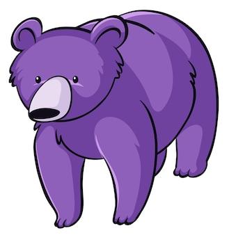 Fioletowy niedźwiedź na białym tle