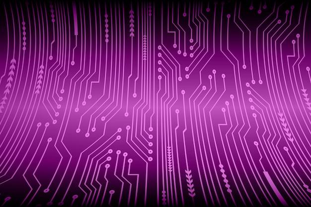 Fioletowy obwód cyber przyszłości koncepcja technologii