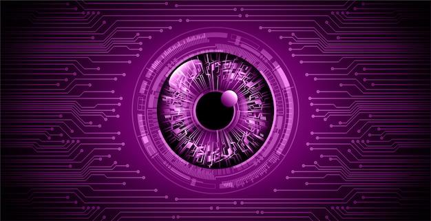 Fioletowy oko cyber obwodu przyszłości technologii koncepcja tło
