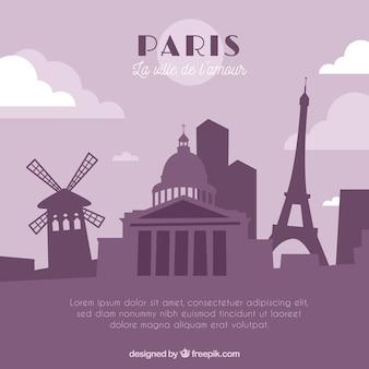 Fioletowy panoramę paryża