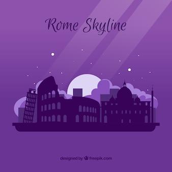 Fioletowy panoramę rzymu