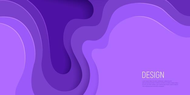 Fioletowy papier wyciąć projekt z 3d szlam streszczenie tło i warstwy fal fioletowy.