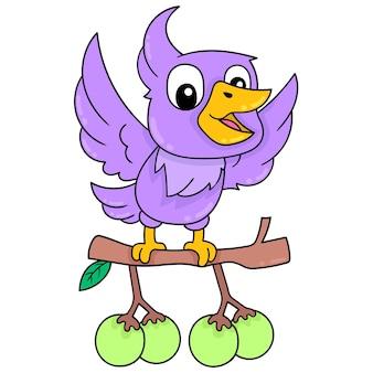 Fioletowy papuga długoogonowa w locie przewożących jagody do żywności, ilustracji wektorowych sztuki. doodle ikona obrazu kawaii.