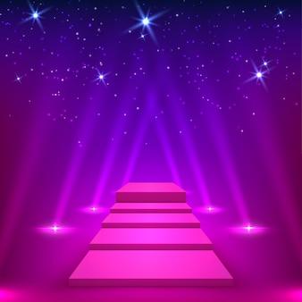 Fioletowy pas z promieniami reflektorów. podium dla zwycięzców