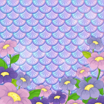 Fioletowy pastelowy wzór łuski z wieloma kwiatami