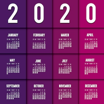 Fioletowy planner kalendarz 2020 wektor wzór