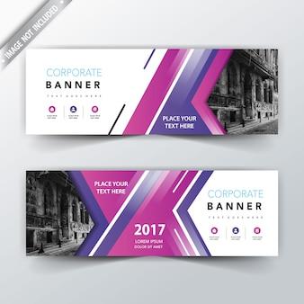 Fioletowy projekt banerów internetowych