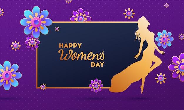 Fioletowy projekt plakatu lub baner z kobieta postać