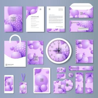 Fioletowy projekt szablonu tożsamości korporacyjnej z kolorowymi elementami geometrycznymi