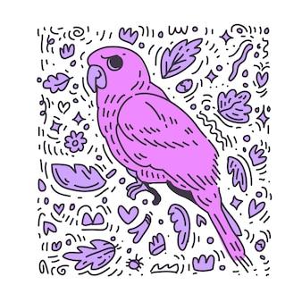 Fioletowy ptak. doodle ptak