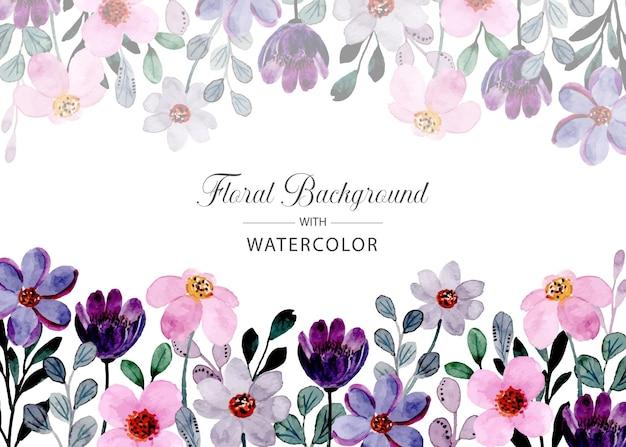 Fioletowy różowy dziki kwiatowy akwarela tło