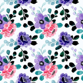 Fioletowy różowy kwiatowy wzór akwarela