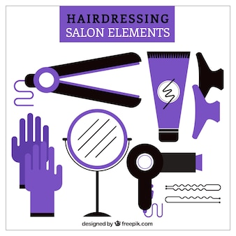 Fioletowy salon fryzjerski elements