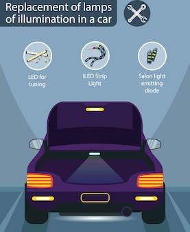 Fioletowy samochód z reflektorami.