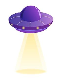 Fioletowy statek kosmiczny ufo