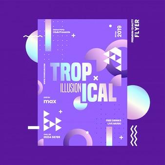Fioletowy szablon lub projekt ulotki z abstrakcyjnymi elementami tropical illusion.