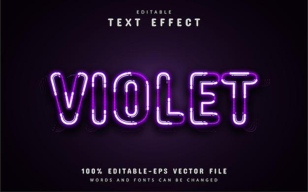 Fioletowy tekst, fioletowy efekt tekstowy w stylu neonu