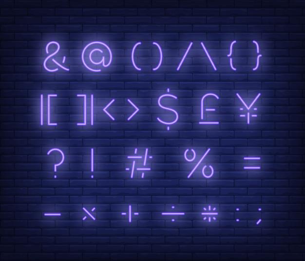 Fioletowy tekst symboli neon znak