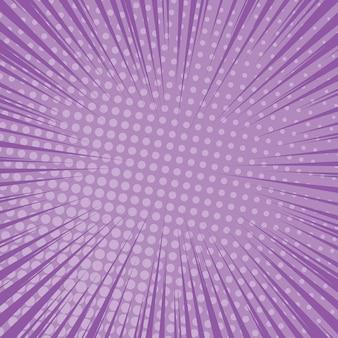 Fioletowy tło strony komiksu w stylu pop-art z pustej przestrzeni. szablon z promieniami, kropkami i teksturą efekt półtonów. ilustracja wektorowa