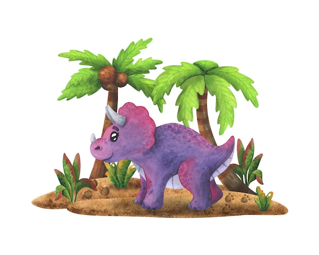 Fioletowy triceratops stoi na wyspie z palmami. kreskówka dinozaur
